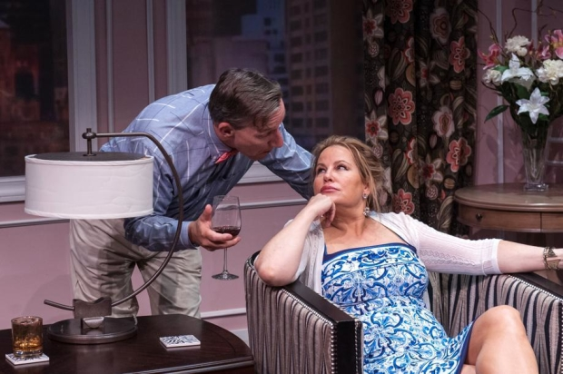 Alexander Cook and Jennifer Coolidge in Marisa Smith's Saving Kitty, directed by Lee Mikeska Gardner, at Boston's Central Square Theater.