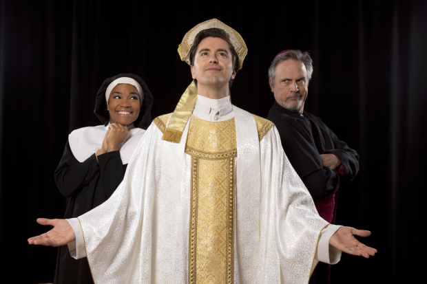 "Britney Coleman as Mary Elizabeth, Sam Bolen as Pope, and Ken Land as Archbishop in ''Pope! An Epic Musical"", directed by Peter Flynn, at PTC Performance Space for NYMF."