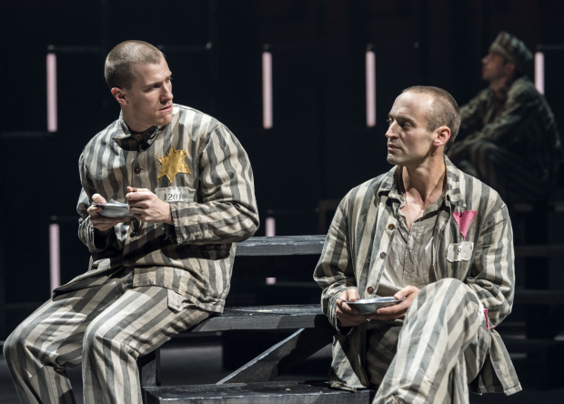 Patrick Heusinger and Charlie Hofheimer in Martin Sherman's Bent, directed by Moisés Kaufman, at the Center Theatre Group/Mark Taper Forum.