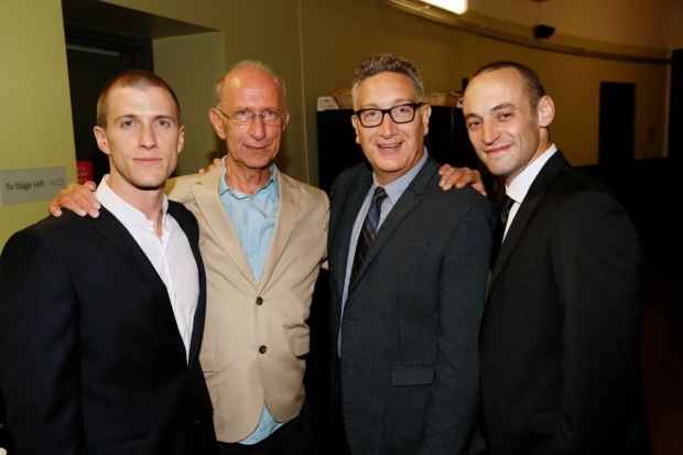 Playwright Martin Sherman (second from left) with 2015 Bent family members Patrick Heusinger (Max), Moisés Kaufman (director), and Charlie Hofheimer (Horst).