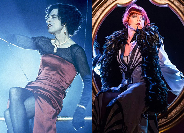 Mick Jagger as Greta in the 1997 film version of Bent' (left); Jake Shears as Greta in the 2015 Center Theatre Group revival of Bent (right).