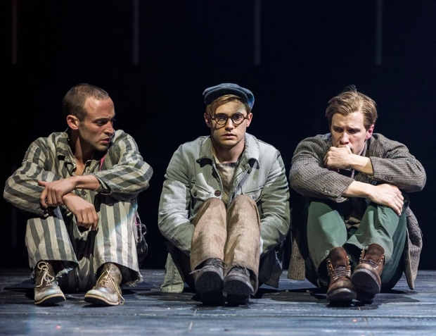 Charlie Hofheimer as Horst, Andy Mientus as Rudy, and Patrick Heusinger as Max in the 2015 revival of Martin Sherman's Bent at the Mark Taper Forum.