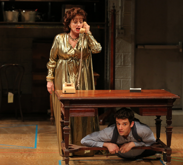 Patti LuPone as Irene and Michael Urie as Car in Douglas Carter Beane's Shows For Days at the Mitzi E. Newhouse Theater.