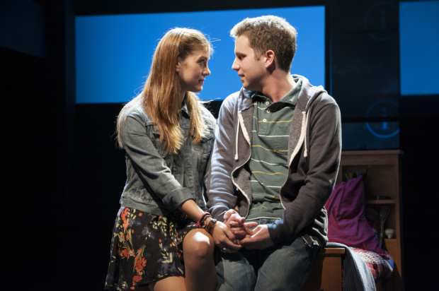 Laura Dreyfuss as Zoe and Ben Platt as Evan in the world-premiere musical Dear Evan Hansen, directed by Michael Greif, at Arena Stage.