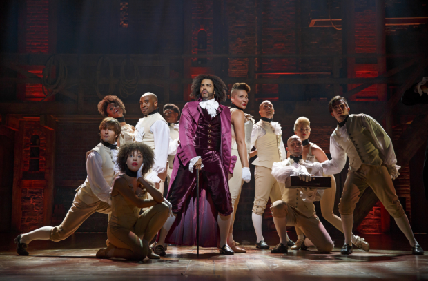Daveed Diggs and the cast of Hamilton on stage at the Richard Rodgers Theatre.