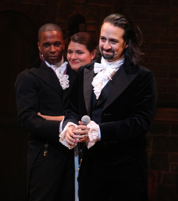 Overcome by emotion, Leslie Odom Jr., Phillipa Soo, and Lin-Manuel Miranda open on Broadway in Hamilton.