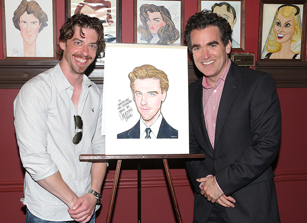 Christian Borle and Brian d'Arcy James pal around with Borle's new portrait.