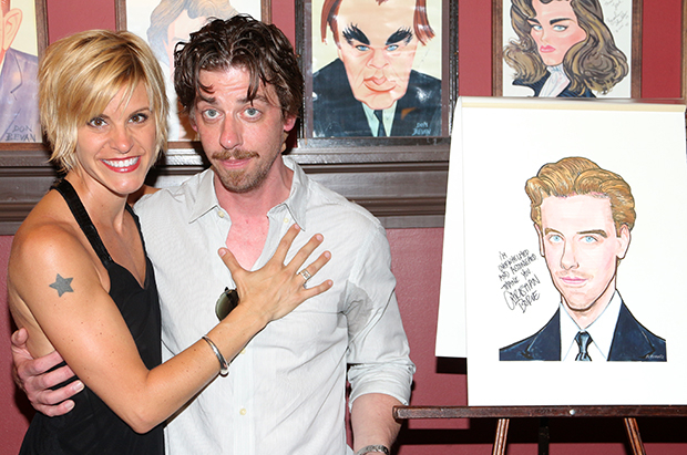 Christian Borle and his Sardi's caricature share a photo with his Broadway pal Jenn Colella (If/Then).