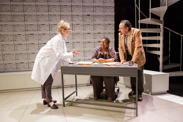 Tina Benko, Myra Lucretia Taylor, and Jesse J. Perez star in Deborah Zoe Laufer's Informed Consent, directed by Liesl Tommy, a production of Primary Stages at The Duke on 42nd Street.