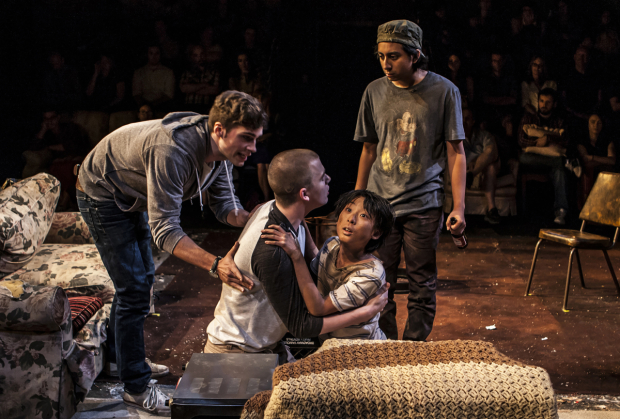 Zane Pais as Elliot, Jack DiFalco as Darren, Bradley Fong as Party Piece, and Tony Revolori as Naz in the New Group's production of Philip Ridley's Mercury Fur, directed by Scott Elliott, at the Pershing Square Signature Center.