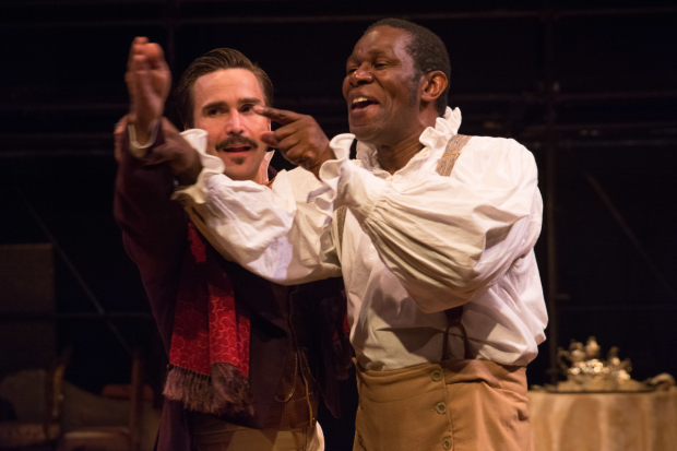 Joe Tapper as Pierre Laporte and John Douglas Thompson as Ira Aldridge in Lolita Chakrabarti's Red Velvet, directed by Daniela Varon, at Shakespeare & Company.