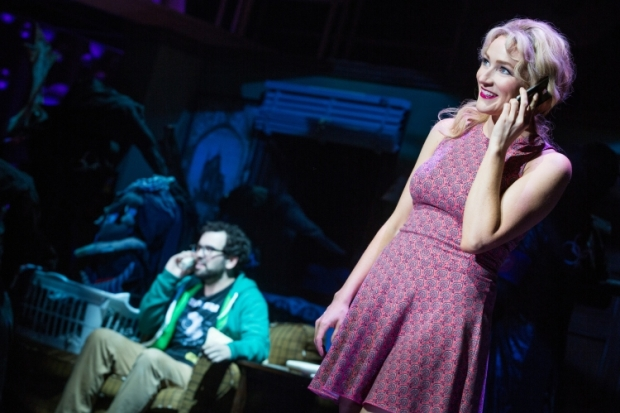 Matt Bittner and Betsy Wolfe in the world-premiere musical Up Here, directed by Alex Timbers, at La Jolla Playhouse.