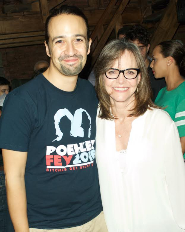 Hamilton star and creator Lin-Manuel Miranda poses with Sally Field, who was seeing the show for the third time.