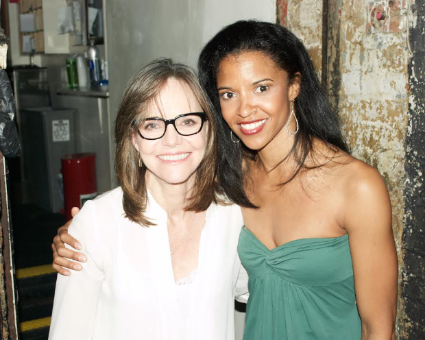 Sally Field poses with Renée Elise Goldsberry, who plays Angelica Schuyler.