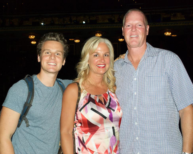 Jonathan Groff shares a photo with Sheri and Jeff Nelson.