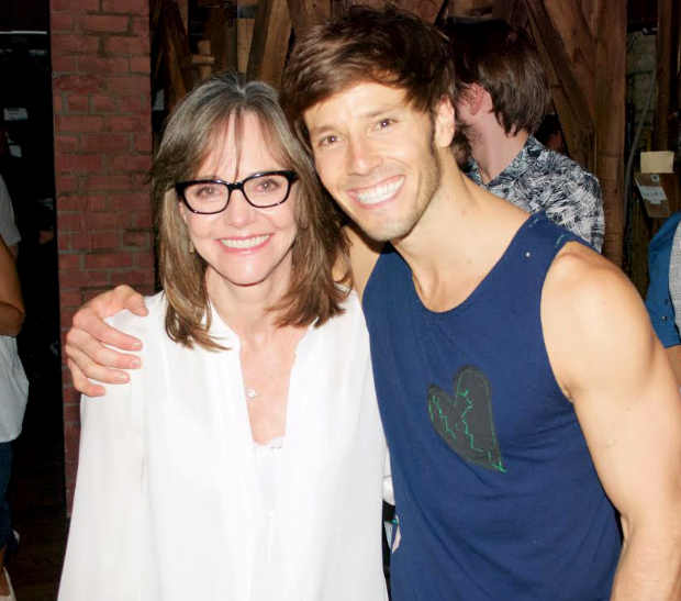 Hamilton ensemble member Thayne Jasperson (right) connects with Sally Field after the show.