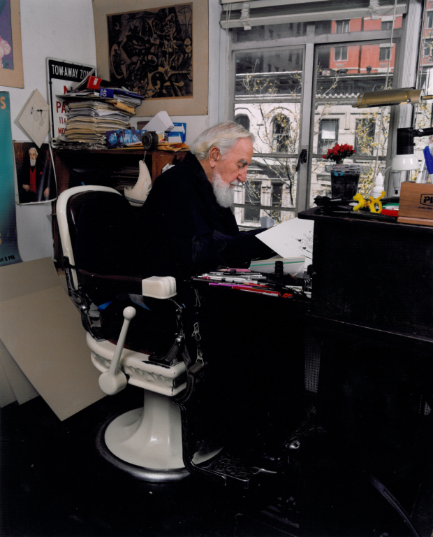 ... Upper East Side apartment while seated in his trademark barber chair