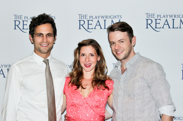 Matt Dellapina, Miriam Silverman, and Nick Westrate, the cast of A Delicate Ship, smile on opening night.