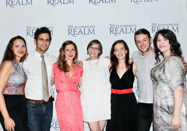 Playwrights Realm Producing Director Roberta Pereira, Matt Dellapina, Miriam Silverman, playwright Anna Ziegler, director Margot Bordelon, Nick Westrate, and Playwrights Realm Artistic Director Katherine Kovner gather to celebrate.