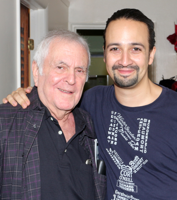 John Kander poses for a photo with Lin-Manuel Miranda following the September 1 performance of Hamilton.