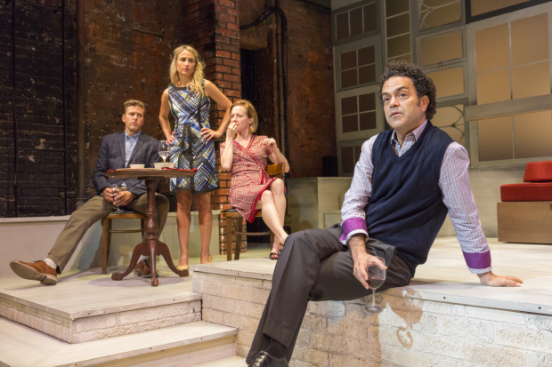 Jayce Bartok, Katya Campbell, Amy Hargreaves, and Maury Ginsberg in Alan Hruska's Laugh It Up, Stare It Down, directed by Chris Eigeman, at the Cherry Lane Theatre.
