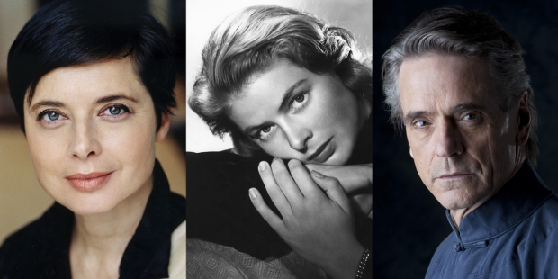 Isabella Rossellini (left) and Jeremy Irons (right) star in a new stage tribute to Rossellini's mother, the actress Ingrid Bergman (center).