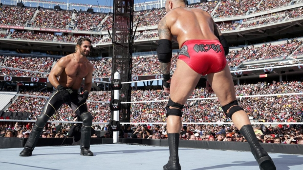 Seth Rollins and Randy Orton perform in front of a giant crowd at WrestleMania 31, which took place on March 29 at Levi's Stadium in Santa Clara, California.
