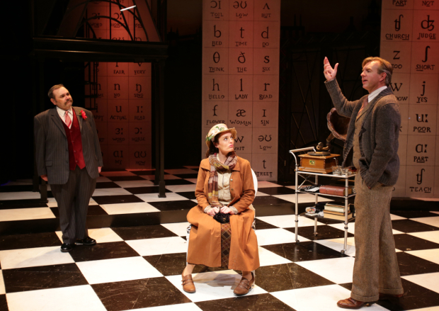 Remo Airaldi (Pickering), Jennifer Ellis (Eliza Doolittle), and Christopher Chew (Henry Higgins) in My Fair Lady, directed by Scott Edmiston, at Boston's Lyric Stage Company.