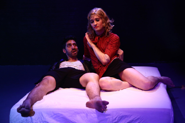 Joe Joseph and Oleg Dubson star in Laboratory Theater's Genet Porno, directed by Yvan Greenberg, at HERE.