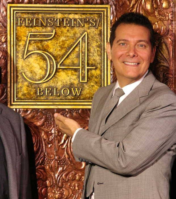 Michael Feinstein shows off the new logo for Feinstein's/54 Below.