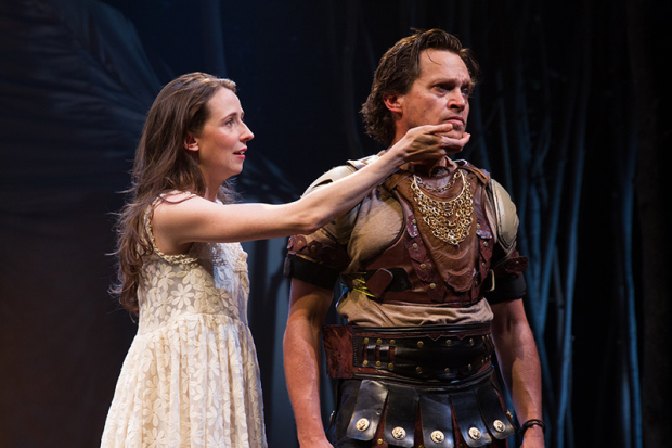 Kristen Sieh and Rob Campbell in Classic Stage Company's production of Iphigenia In Aulis.