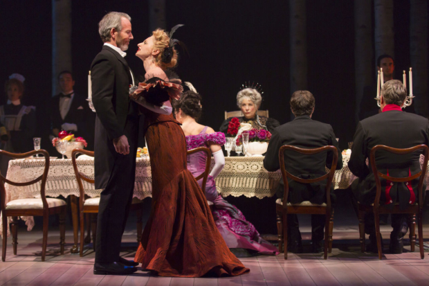 Stephen Bogardus (Fredrik Egerman) and Lauren Molina (Countess Charlotte) in A Little Night Music, directed by Peter DuBois, at Boston's Huntington Theatre Company.