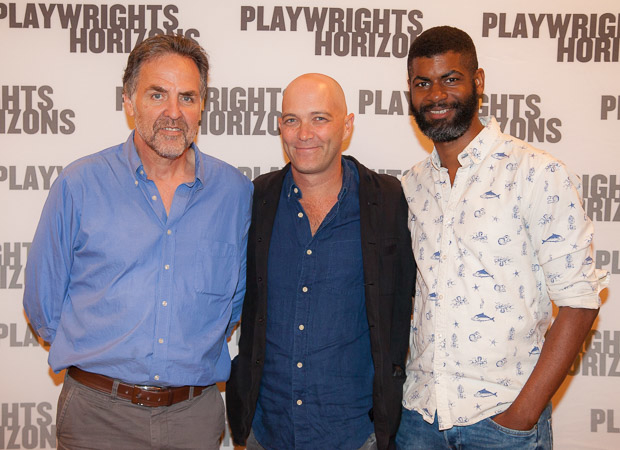 Playwrights Horizons Artistic Director Tim Sanford poses with Hir playwright Taylor Mac and director Niegel Smith.