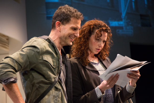 Ron Menzel and Tessa Klein in Chimerica, directed by Tom Muse, at Studio Theatre.