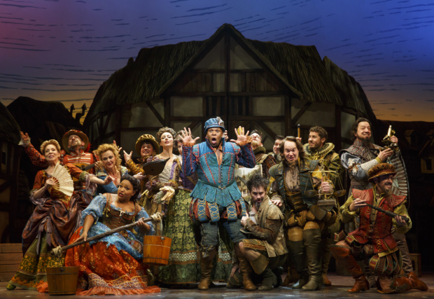 The company of Broadway's Something Rotten! at the St. James Theatre.