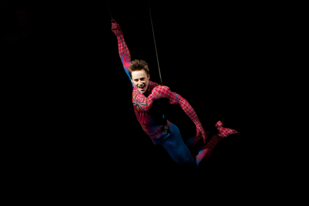 Reeve Carney as the title character in Spider-Man: Turn Off the Dark — or, Spider-Man Turn Off the Dark.