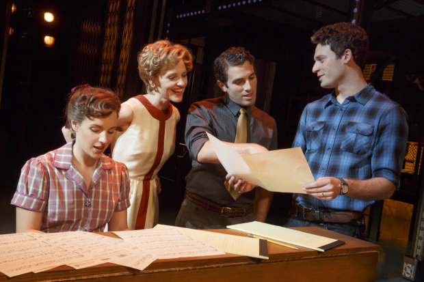 Jessie Mueller, Anika Larson, Jarrod Spector, and Jake Epstein in the original cast of Beautiful — The Carole King Musical.