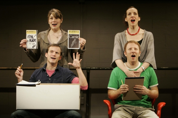 Heidi Blickenstaff (top, left), Jeff Bowen (bottom, left), Susan Blackwell (top, right), and Hunter Bell (top, left) in [title of show].
