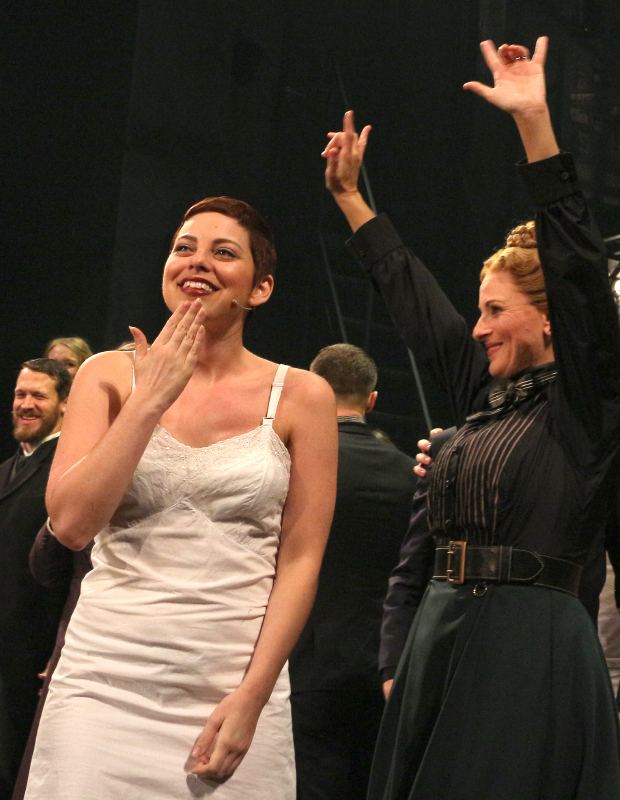 "Krysta Rodriguez signs ""Thank You"" while Marlee Matlin signs ""I Love You"" as they take their bows on the opening night of Deaf West Theatre's Spring Awakening at the Brooks Atkinson Theatre."