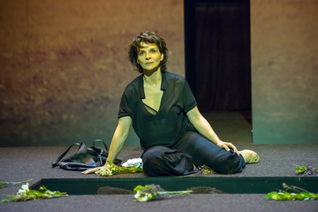 Juliette Binoche plays the title role in Sophocles' Antigone, directed by Ivo van Hove, at BAM's Harvey Theater.
