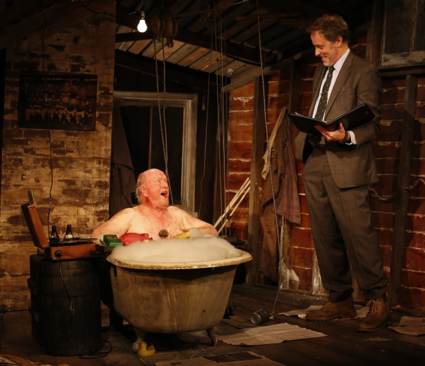 Peter Maloney and Rufus Collins in John McManus' The Quare Land, directed by Ciarán O'Reilly, at DR2 Theatre.