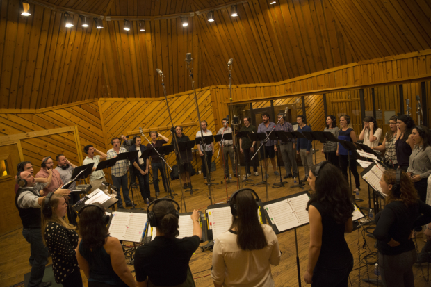 The choir of The Hunchback of Notre Dame heads into the recording studio.