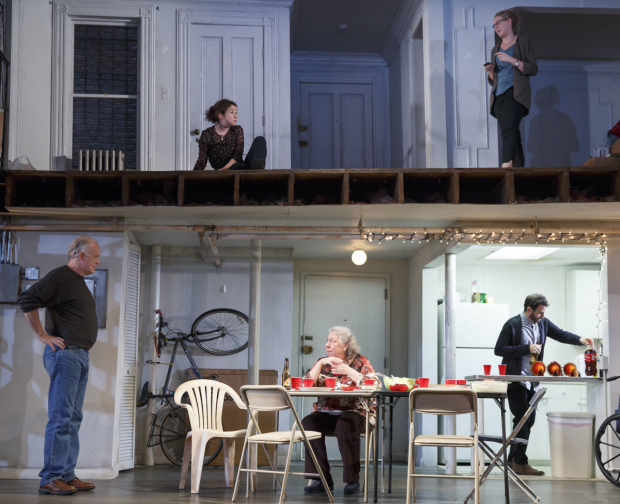 the cast of Stephen Karam's The Humans at Roundabout's Laura Pels Theatre,