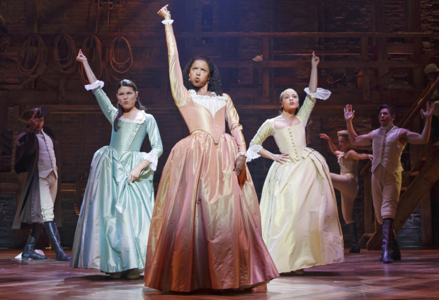 Renée Elise Goldsberry with Phillipa Soo and Jasmine Cephas Jones in a scene from Hamilton on Broadway.