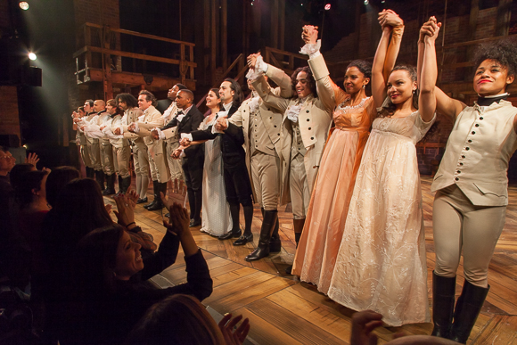 Renée Elise Goldsberry (third from right) with the cast take their bow on the opening night of Hamilton's off-Broadway run at The Public Theater.