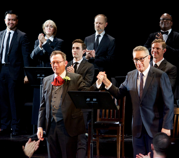 Michael Emerson, Moisés Kaufman, and the cast of Gross Indecency take a bow.