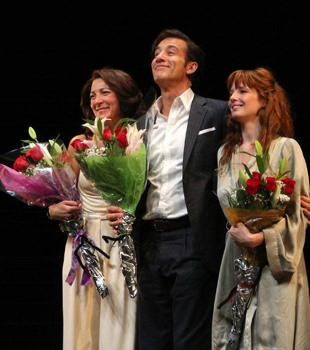 Eve Best, Clive Owen, and Kelly Reilly take their bows on the opening night of Old Times at the American Airlines Theatre.