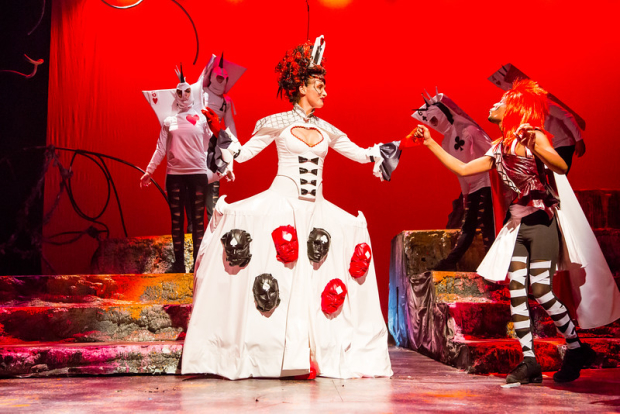 Veberyte Loman (Queen of Hearts) in Synetic Theater's Alice in Wonderland, directed by Paata Tsikurishvili.