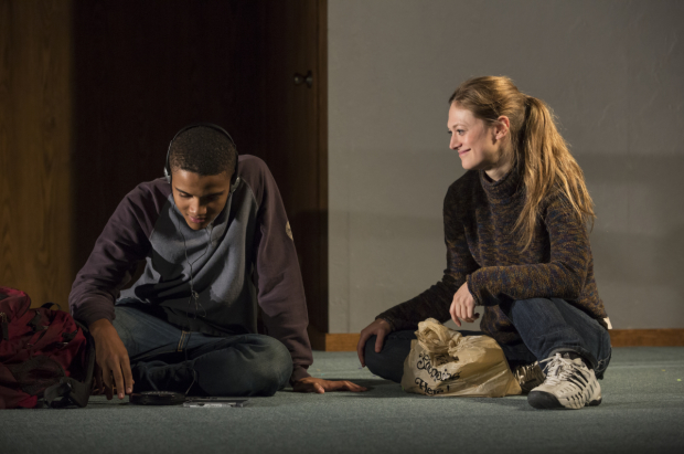 Nicholas L. Ashe and Marin Ireland in a scene from Abe Koogler's Kill Floor, directed by Lila Neugebauer, at the Claire Tow Theater.