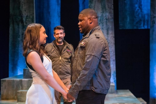 Josephine Elwood (Desdemona), John Kuntz (Iago), and Johnnie McQuarley (Othello) in Othello, directed by Bridget Kathleen O'Leary, for Actors' Shakespeare Project.